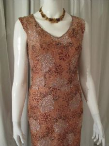 1950's Coffee lace beaded vintage cocktail dress. Rolande.